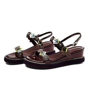 06766805 Nappa Plat Brun Cuir ouvert Foncé Sandales Talon Confort Bout Eté Boucle Chaussures Femme wZqEOO