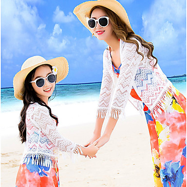billige Familie-tøjsæt-Voksen Mommy og mig Basale Strand Blomstret Halvlange ærmer Bluse Hvid