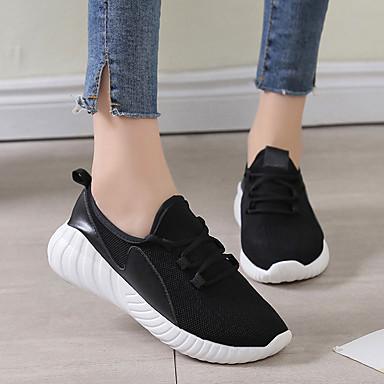 Femme Marche Chaussures Plat rond Printemps Tricot Talon Confort Bout d'Athlétisme 06751893 été Blanc Noir Chaussures UxrUwSqa