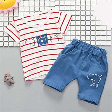 Bebelus Băieți De Bază Dungi Manșon scurt Set Îmbrăcăminte / Copil