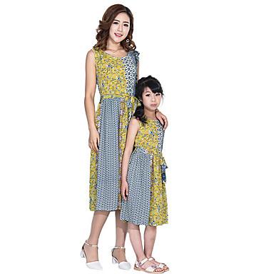 Mama și cu mine Bloc Culoare Fără manșon Rochie