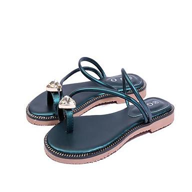 Strass Chaussures Vert Plat Bout Noir Sandales Eté Polyuréthane 06766247 ouvert Bride Femme Orteil Talon vdqBgR7xw