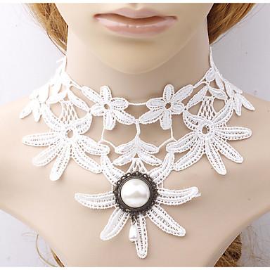 levne Dámské šperky-Dámské Y Náhrdelník Sektor Kytky dámy Módní Krajka Bílá 42 cm Náhrdelníky Šperky 1ks Pro Denní