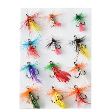 12 pcs Fliegen Angelköder Fliegen Ködertasche Feder Kohlestahl Handgemacht Wasserdicht Leicht zu installieren sinkend Fliegenfischen Köderwerfen Fischen im Süßwasser / Angeln Allgemein