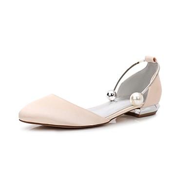les chaussures de confort / d'orsay et et et satin printemps deux - pièces en chaussures croûton round toe pearl Bleu  / champagne / ivoire / partie & soir 004e29