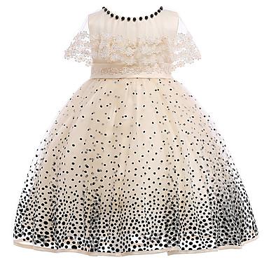 Χαμηλού Κόστους Φορέματα για κορίτσια-Παιδιά Κοριτσίστικα Βίντατζ / Βασικό Πάρτι / Γενέθλια Πουά Δαντέλα Αμάνικο Ως το Γόνατο Βαμβάκι / Πολυεστέρας Φόρεμα Μπεζ