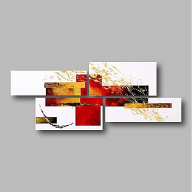 Hang-pictate pictură în ulei Pictat manual - Abstract / Peisaj Contemporan Includeți cadru interior / Patru Panouri / Stretched Canvas