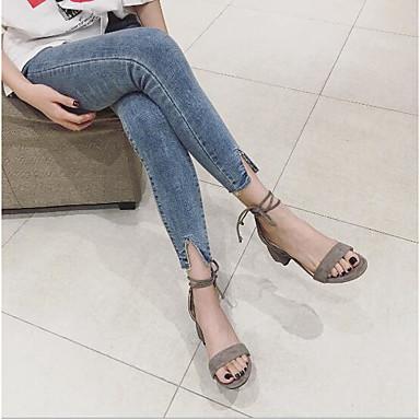 Cuadrado Verano PU Caqui Zapatos Mujer Negro Lazo Corbata Sandalias abierta Tacón Confort de Puntera Gris 06753835 5CSRqqwp