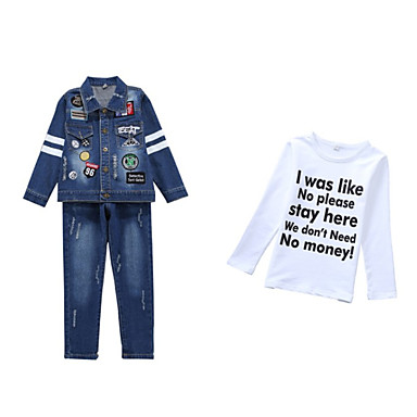 Copii Băieți De Bază Zilnic Imprimeu Imprimeu Manșon Lung Regular Bumbac / Poliester / Spandex Set Îmbrăcăminte Albastru piscină 140