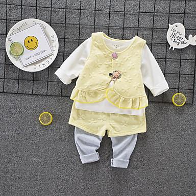 Bebelus Unisex Vintage Zilnic Alb negru Mată / Geometric Plisată Manșon scurt Regular Regular In / Celofibră / Acrilic Set Îmbrăcăminte Trifoi 100 / Copil