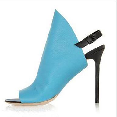 Boucle été Talon ouvert Arrière Sandales Polyuréthane Chaussures Printemps Bleu A amp; Noir Bout Bride Soirée Femme 06762272 Evénement Aiguille qt78gwF