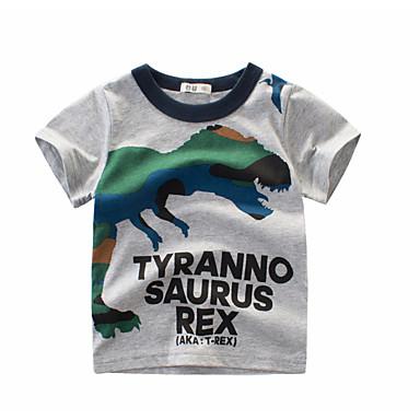 baratos Camisas para Meninos-Infantil Para Meninos Básico Diário Estampado Estampado Manga Curta Padrão Algodão Camiseta Branco
