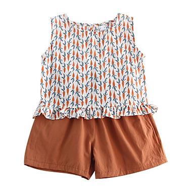Copil Fete Activ Zilnic Imprimeu Imprimeu Fără manșon Regular Bumbac Set Îmbrăcăminte Trifoi 100
