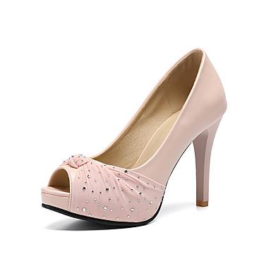 Pentru femei Pantofi PU Primavara vara Balerini Basic pantofi de nunta Toc Stilat Pantofi vârf deschis Perle / Sclipici Strălucitor Bej /