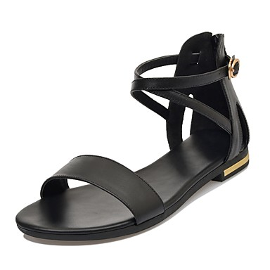 voordelige Damessandalen-Dames Sandalen Leren schoenen Platte hak Open teen  Leer Comfortabel Lente zomer Wit / Zwart / Lichtbruin