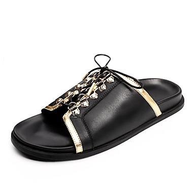Bărbați Pantofi de confort Piele Vară Papuci & Flip-flops Negru