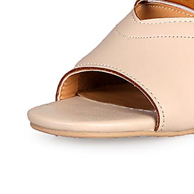 Verano Zapatos Dedo Talón Mujer Cuadrado Tacón 06770606 Beige Sandalias PU Almendra Descubierto redondo wEqOCgd