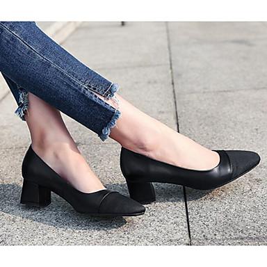 Confort D6148 fermé Automne Chaussons Noir Femme Cuir Heel 06770759 Kaki Nappa Mocassins Bout Block et Chaussures 8q74Ia