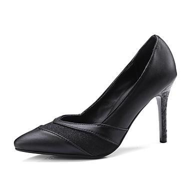 Pentru femei Pantofi PU Primavara vara Balerini Basic Tocuri Toc Stilat Vârf ascuțit Negru / Roșu Vin