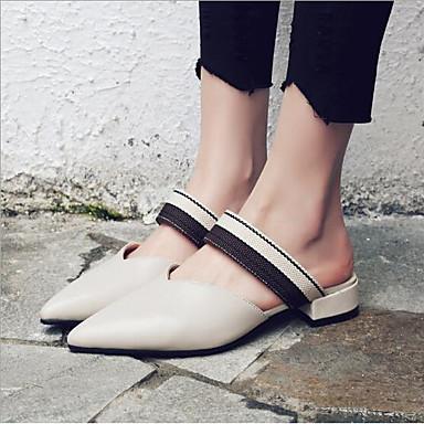 Mules Confort Talon Femme amp; 06752166 Cuir Eté Bottier Sabot Ruban Bout pointu Chaussures Beige Marron nqYCwUYT