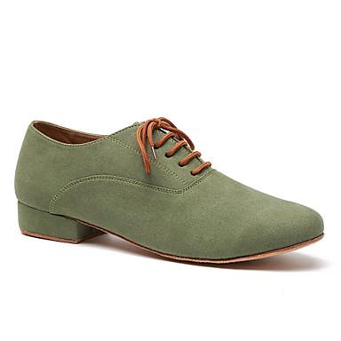 baratos Shall We® Sapatos de Dança-Homens Sapatos de Dança Microfibra Sapatos de Dança Moderna Rendado Têni Salto Grosso Camel / Verde Tropa / EU41