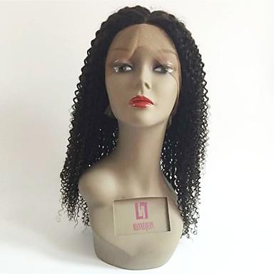Păr Remy Față din Dantelă Perucă Păr Brazilian Buclat Negru Perucă Frizură în Straturi 150% Densitatea părului cu păr de păr Linia naturală de păr pentru Femei de Culoare Negru Pentru femei Scurt
