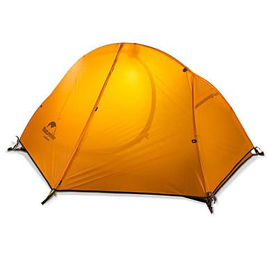 billige Telt og ly-Naturehike 1 person Turtelt Utendørs Regn-sikker Hold Varm Sammenleggbar Dobbelt Lagdelt Stang Kuppel camping Tent >3000 mm til Camping & Fjellvandring Jakt Silikon Nylon 205*156*110 cm