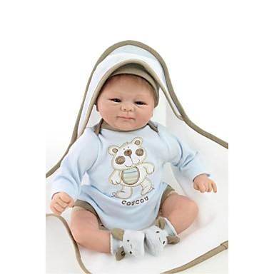 abordables Muñecas reborn-NPKCOLLECTION MUÑECA NPK Muñecas reborn Bebés Niños 18 pulgada natural Regalo Artificial Implantation Brown Eyes Kid de Chico / Chica Juguet Regalo
