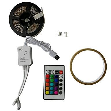 billige LED Strip Lamper-2m RGB-lysstriper 60 LED SMD5050 1 24Kjør fjernkontrollen RGB Vanntett / Kuttbar / USB 5 V 1set