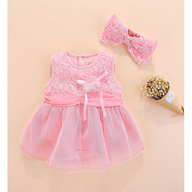 b8df2cd7ce6 Μωρό Κοριτσίστικα Βασικό Μονόχρωμο Αμάνικο Βαμβάκι Φόρεμα Ανθισμένο Ροζ /  Νήπιο