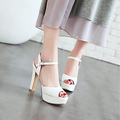 best service 130cb 4bbe6 ... Femme Chaussures Chaussures Chaussures Faux Cuir Printemps été Bride de  Cheville s Talon Bottier Bout ouvert ...