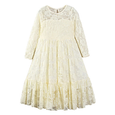 cheap Gilrs' Party Dresses-Kids Girls' Active Sweet Holiday Going out Solid Colored Lace Bow Mesh 3/4 Length Sleeve Maxi Polyester Dress White / Embroidered