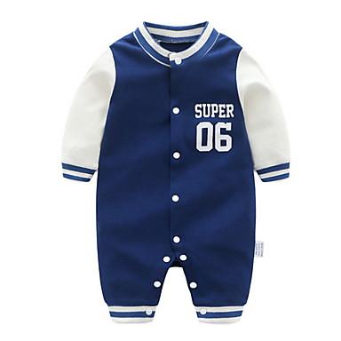 billige Babytøj Drenge Drenge-Baby Drenge Basale Daglig Trykt mønster Langærmet En del Blå