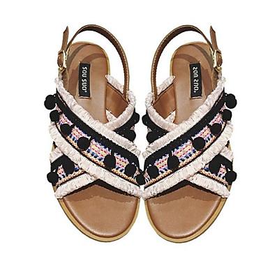 Rose Chaussures Bout Confort Eté ouvert Talon Tissu élastique 06764822 Gland Plat Café Femme Sandales 7wdqTq