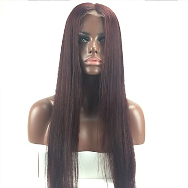 billige Blondeparykker med menneskehår-Remy Menneskehår Helblonde Parykk Lagvis frisyre Rihanna stil Brasiliansk hår Rett Burgunder Parykk 130% Hair Tetthet med baby hår Naturlig hårlinje 100 % håndknyttet Burgunder Dame Kort Medium