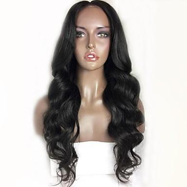 Păr Remy Față din Dantelă Perucă Păr Brazilian Ondulat Stil Ondulat Negru Perucă Frizură în Straturi 130% Densitatea părului cu păr de păr Linia naturală de păr pentru Femei de Culoare Negru Pentru