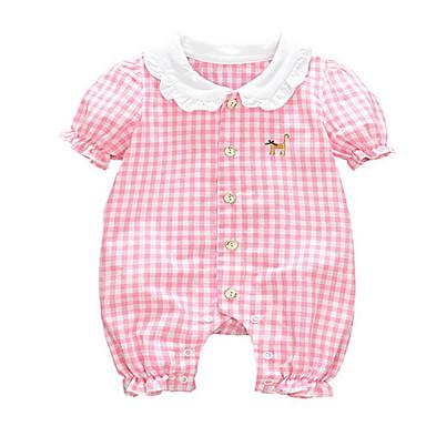 Bebelus Unisex De Bază Carouri Mânecă scurtă O - piesă / Copil