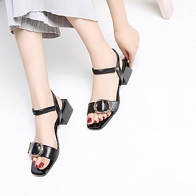 Blanc Femme Sandales 06755360 Chaussures Talon Confort Noir Cuir Bottier Eté PqvT0P