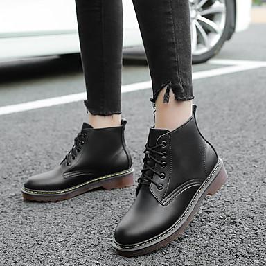 Pentru femei Pantofi Piele Iarnă Confortabili Cizme Toc Jos Alb / Negru