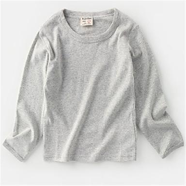 baratos Camisas para Meninos-Bébé Para Meninos Básico Sólido Manga Longa Camisa Cinzento