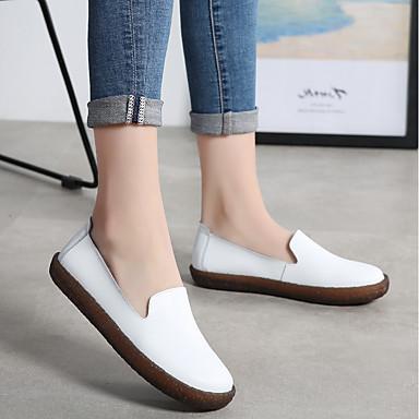 Talon Confort et D6148 06751749 Femme Chaussons Noir Chaussures Automne Mocassins hiver Plat Cuir Blanc Fxqz8qIY