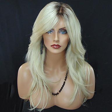 Pelucas sintéticas Ondulado Rubio Corte a capas Pelo sintético Resistente al Calor / Pelo Ombre / Raíces oscuras Rubio Peluca Mujer Larga Sin Tapa
