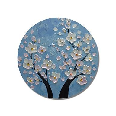 stildecor® pictat manual, cadru circular abstract, albastru, albastru, cu flori albe, pictura in ulei, pe panza invelita