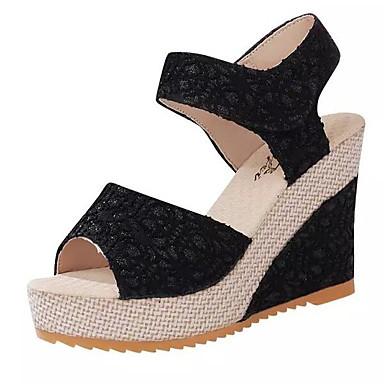 Encaje Cosido y Beige Negro Dos Cuña Sandalias Mujer Primavera Tacón Puntera abierta Zapatos Encaje verano D'Orsay 06768394 PU Piezas q5TZY