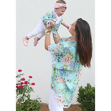 billige Familie-tøjsæt-Voksen Mommy og mig Basale Daglig Blomstret Kortærmet Bluse Grøn