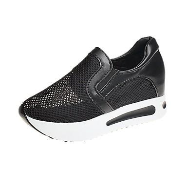 Pentru femei Pantofi PU Primăvară Confortabili Mocasini & Balerini Creepers Alb / Negru