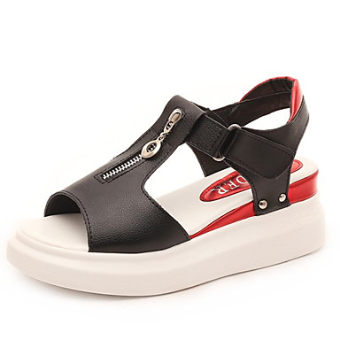 Pentru femei Pantofi PU Vară Pantof cu Berete Sandale Toc Platformă Alb / Negru / Argintiu