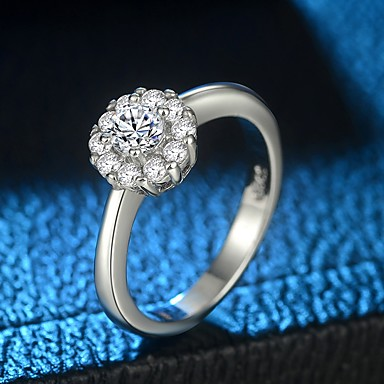 billige Motering-Dame Ring Micro Pave Ring 1pc Sølv Kobber Platin Belagt Fuskediamant damer trendy Søt Gave Daglig Smykker Elegant HALO simulert Blomst Søtt
