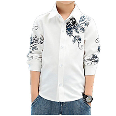 baratos Camisas para Meninos-Infantil Para Meninos Básico Moda de Rua Diário Floral Estampado Manga Longa Padrão Algodão Camisa Azul