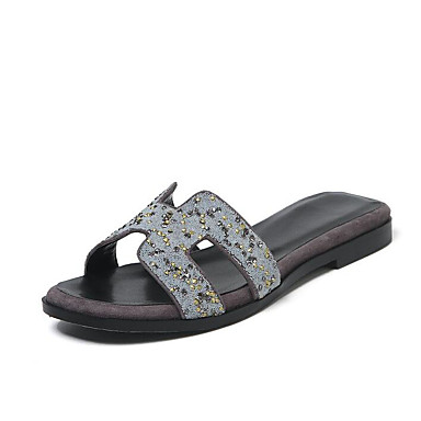 Talon Cuir Noir Confort Eté Chaussures Tongs Femme Gris 06791098 Plat amp; Chaussons Orange Uxw0AnOzq4